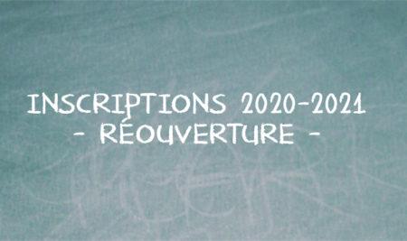 Inscriptions 2020-2021